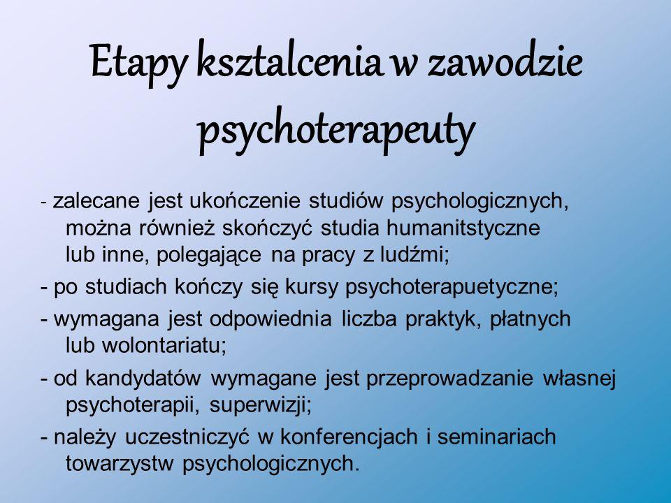 Etapy ksztalcenia w zawodzie psychoterapeuty