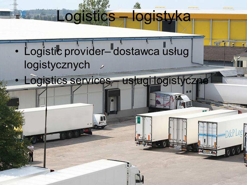 Logistics – logistyka Logistic provider– dostawca usług logistycznych