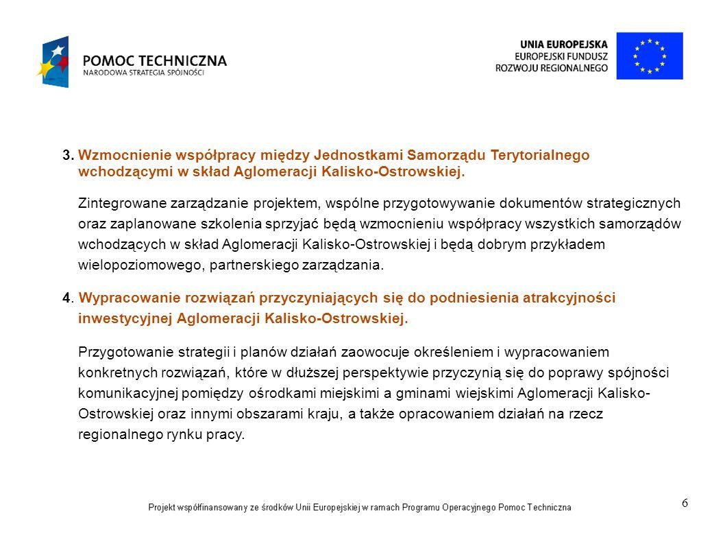 Wzmocnienie współpracy między Jednostkami Samorządu Terytorialnego wchodzącymi w skład Aglomeracji Kalisko-Ostrowskiej.