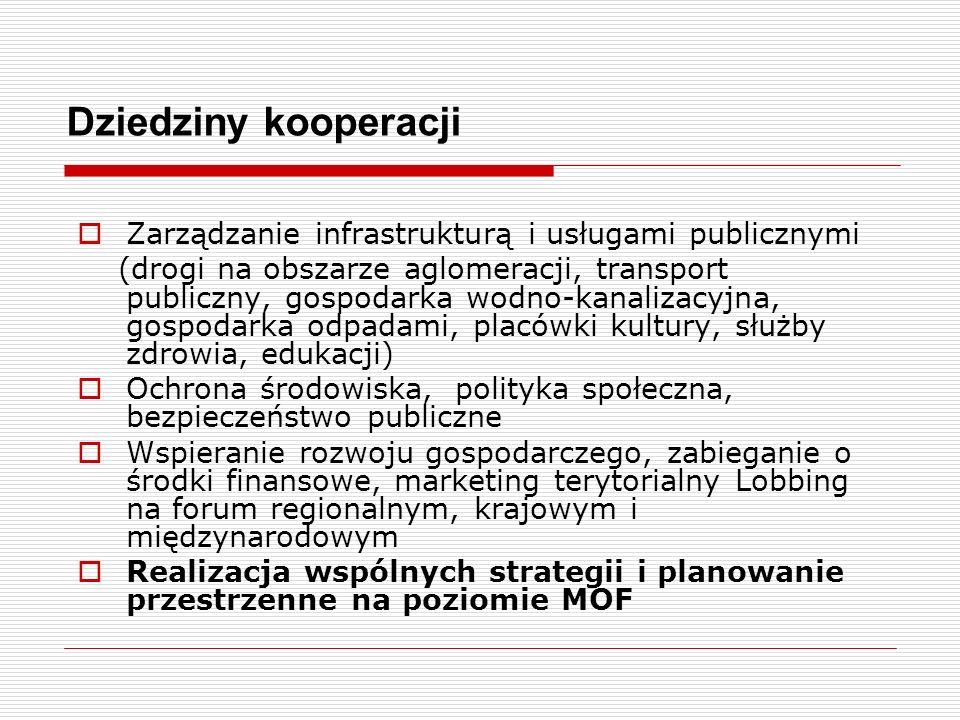 Dziedziny kooperacji Zarządzanie infrastrukturą i usługami publicznymi