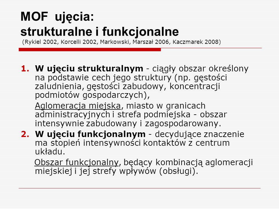 MOF ujęcia: strukturalne i funkcjonalne (Rykiel 2002, Korcelli 2002, Markowski, Marszał 2006, Kaczmarek 2008)