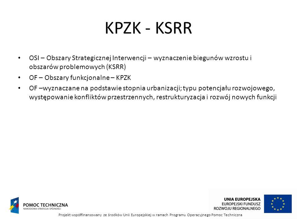 KPZK - KSRR OSI – Obszary Strategicznej Interwencji – wyznaczenie biegunów wzrostu i obszarów problemowych (KSRR)
