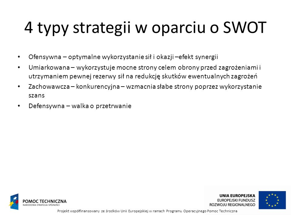 4 typy strategii w oparciu o SWOT