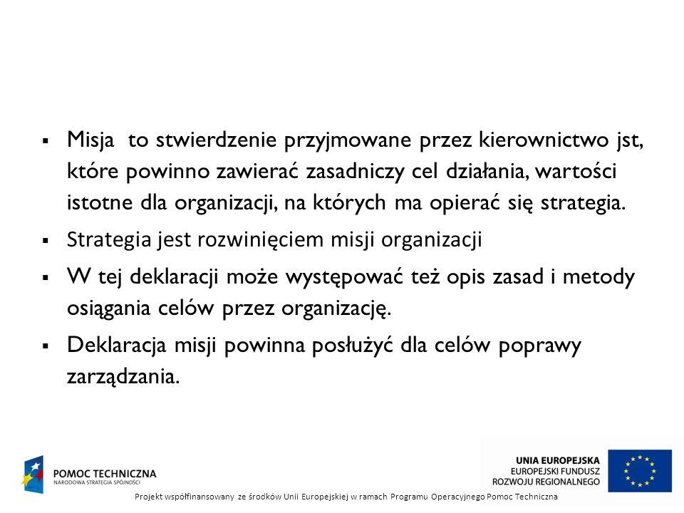 Strategia jest rozwinięciem misji organizacji