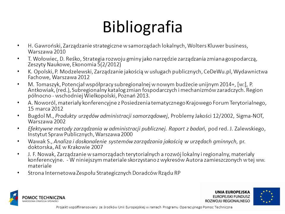 Bibliografia H. Gawroński, Zarządzanie strategiczne w samorządach lokalnych, Wolters Kluwer business, Warszawa 2010.