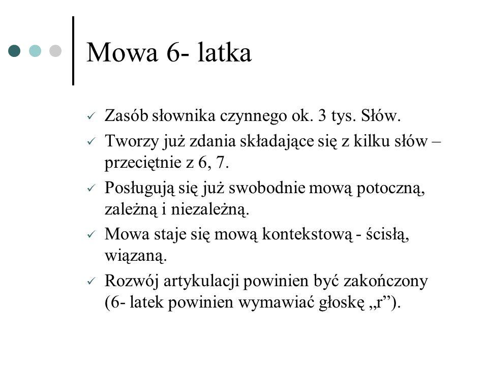 Mowa 6- latka Zasób słownika czynnego ok. 3 tys. Słów.