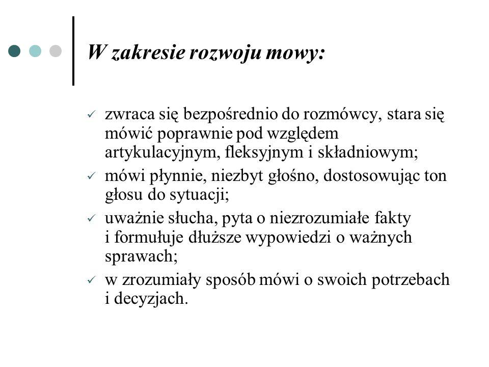 W zakresie rozwoju mowy:
