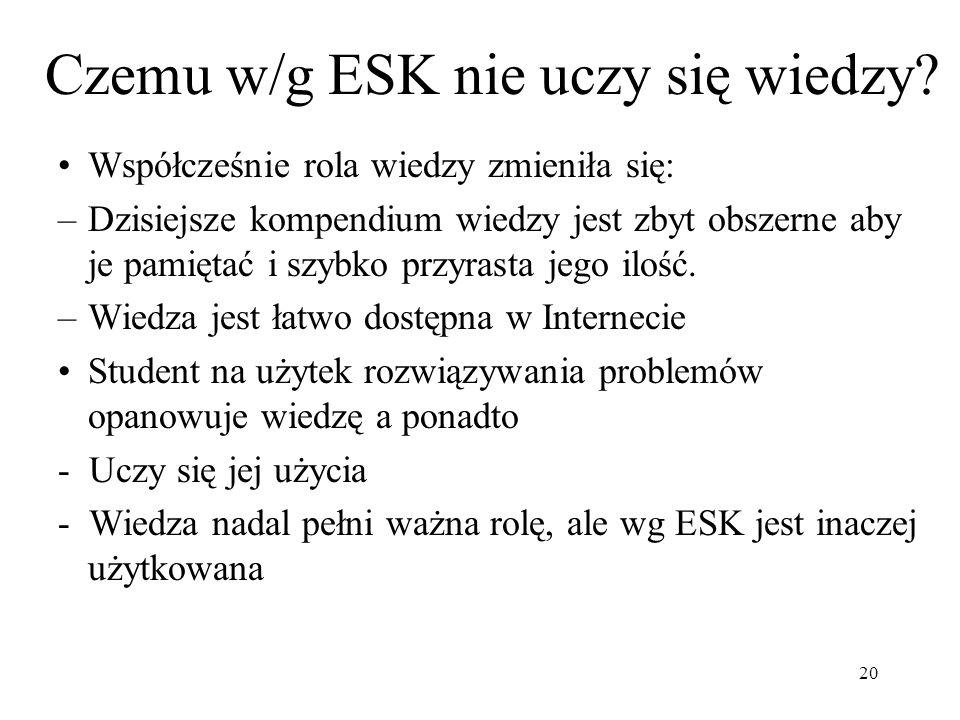Czemu w/g ESK nie uczy się wiedzy