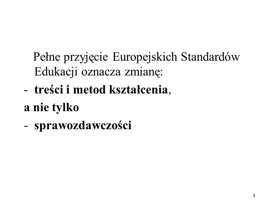 Pełne przyjęcie Europejskich Standardów Edukacji oznacza zmianę: