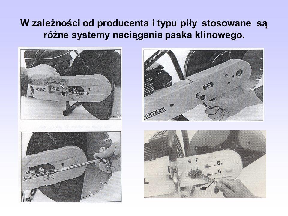 W zależności od producenta i typu piły stosowane są różne systemy naciągania paska klinowego.