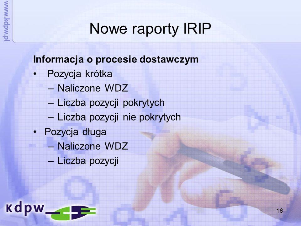 Nowe raporty IRIP Informacja o procesie dostawczym Pozycja krótka