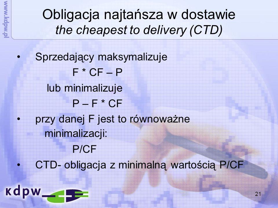 Obligacja najtańsza w dostawie the cheapest to delivery (CTD)