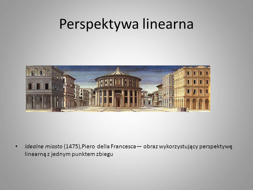 Perspektywa linearna Idealne miasto (1475),Piero della Francesca— obraz wykorzystujący perspektywę linearną z jednym punktem zbiegu.