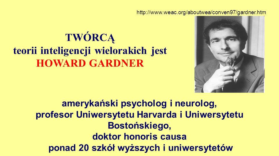 TWÓRCĄ teorii inteligencji wielorakich jest HOWARD GARDNER