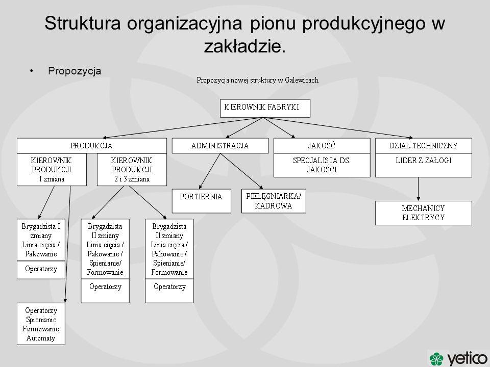 Struktura organizacyjna pionu produkcyjnego w zakładzie.