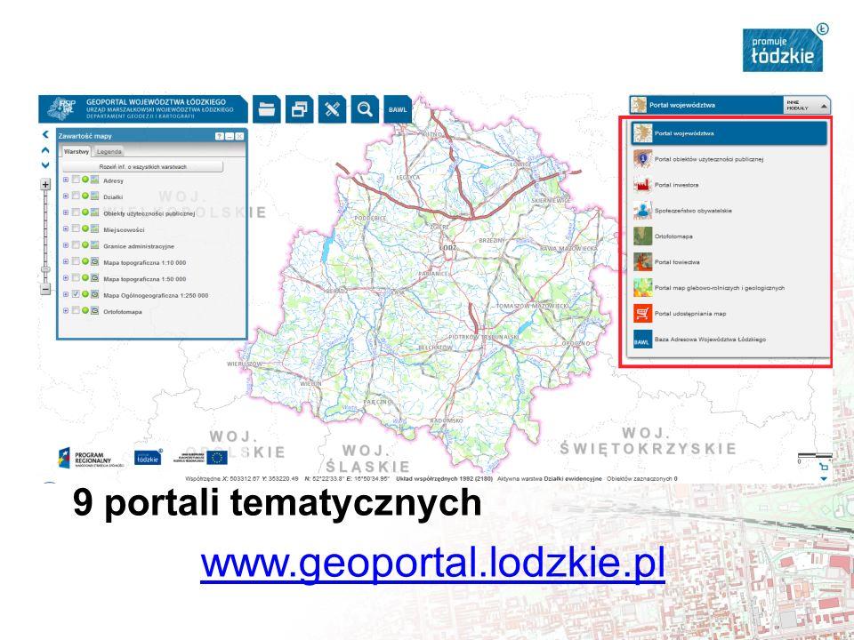 9 portali tematycznych www.geoportal.lodzkie.pl