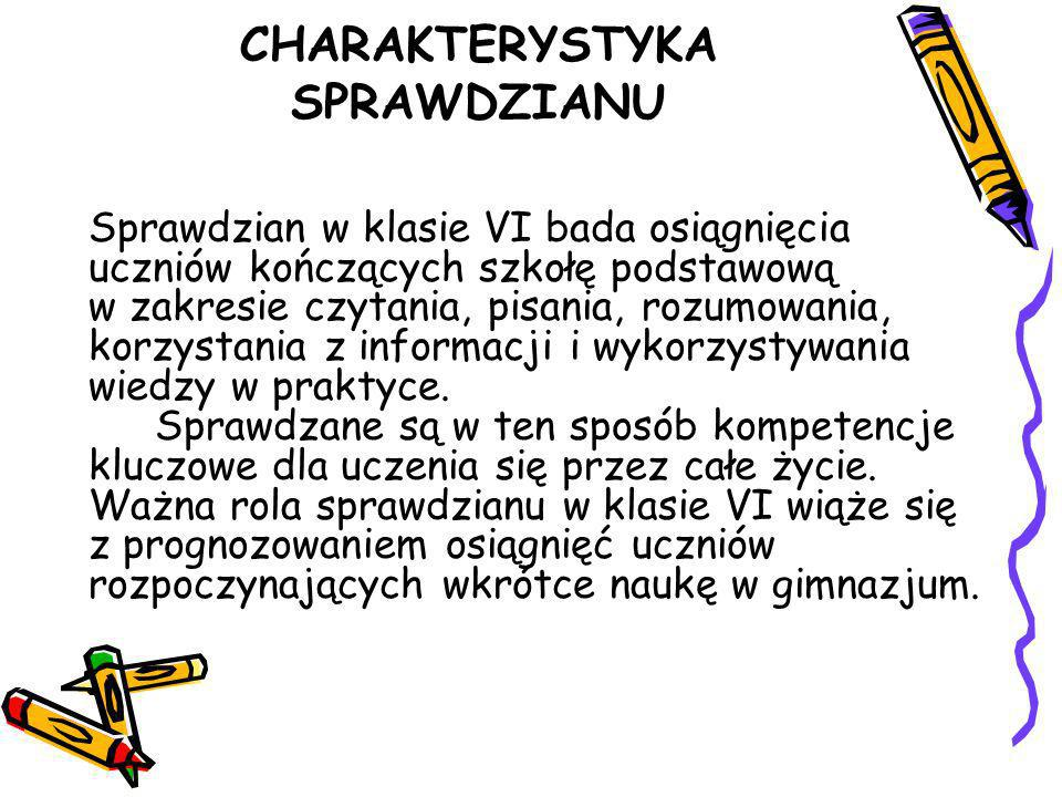 CHARAKTERYSTYKA SPRAWDZIANU
