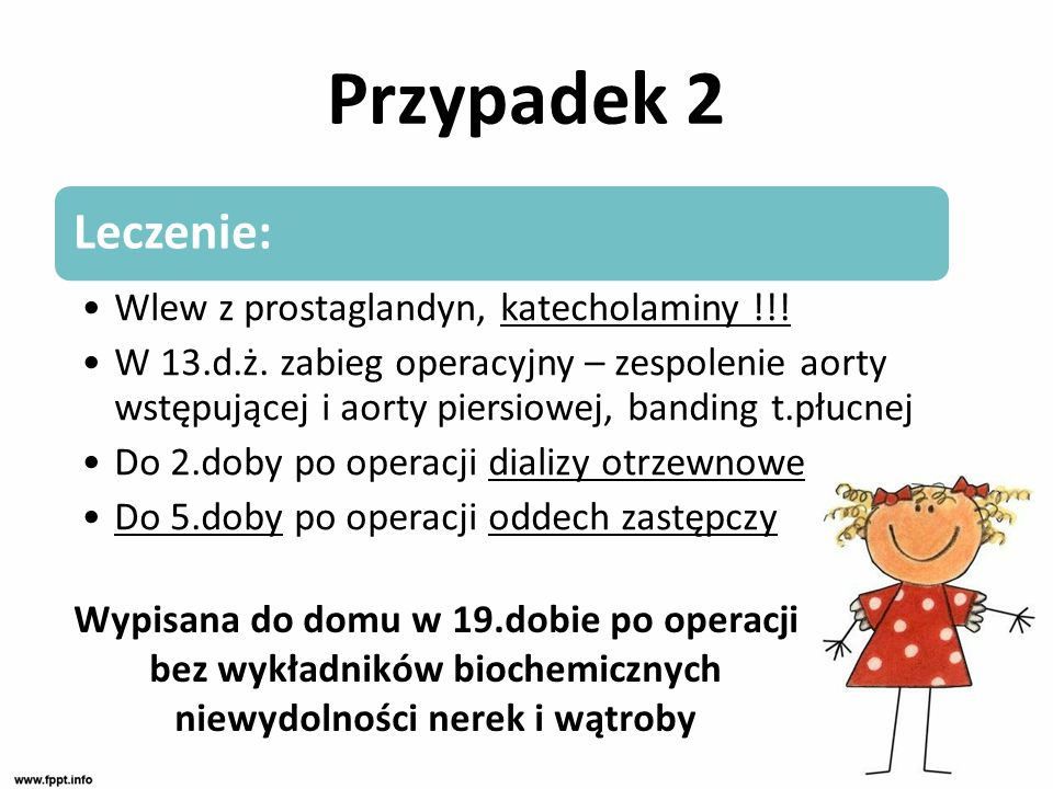 Przypadek 2 Leczenie: Wlew z prostaglandyn, katecholaminy !!!