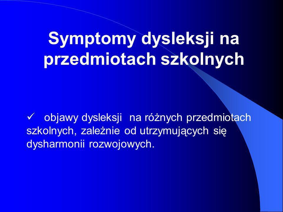 Symptomy dysleksji na przedmiotach szkolnych