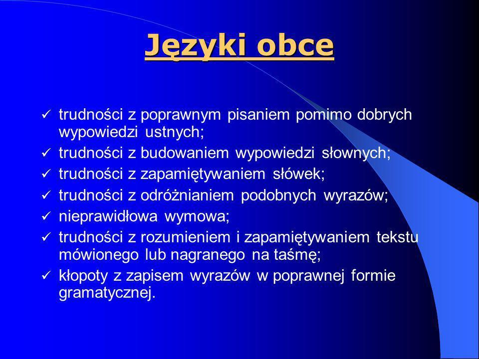 Języki obce trudności z poprawnym pisaniem pomimo dobrych wypowiedzi ustnych; trudności z budowaniem wypowiedzi słownych;