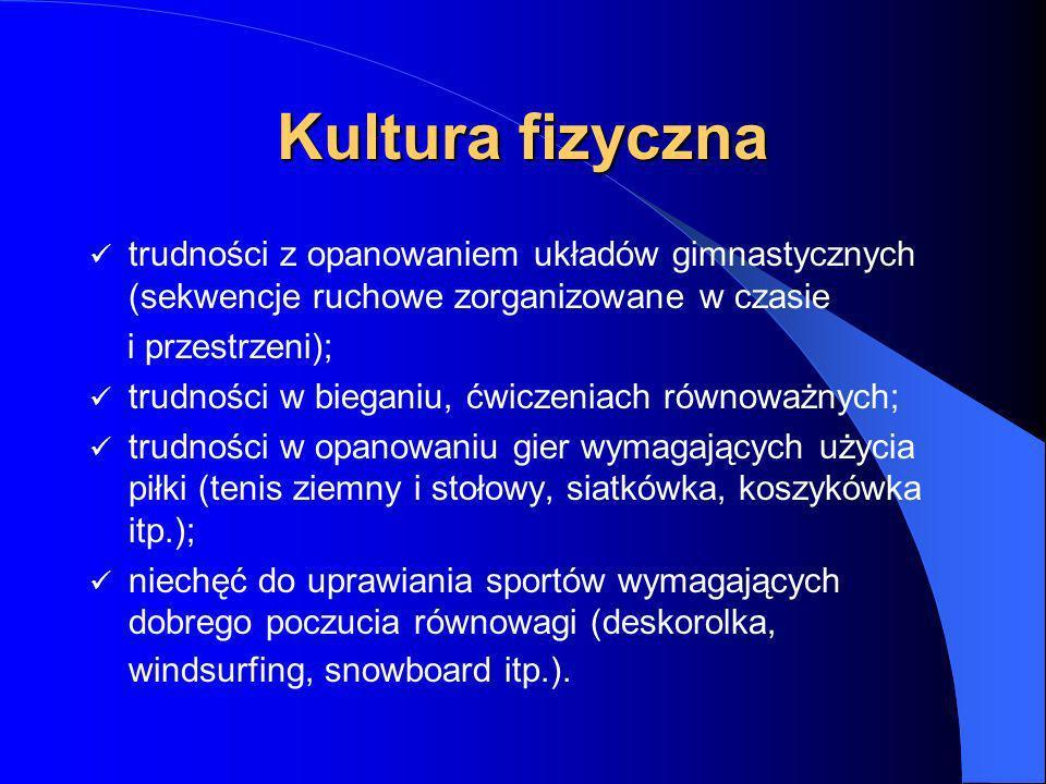 Kultura fizyczna trudności z opanowaniem układów gimnastycznych (sekwencje ruchowe zorganizowane w czasie.