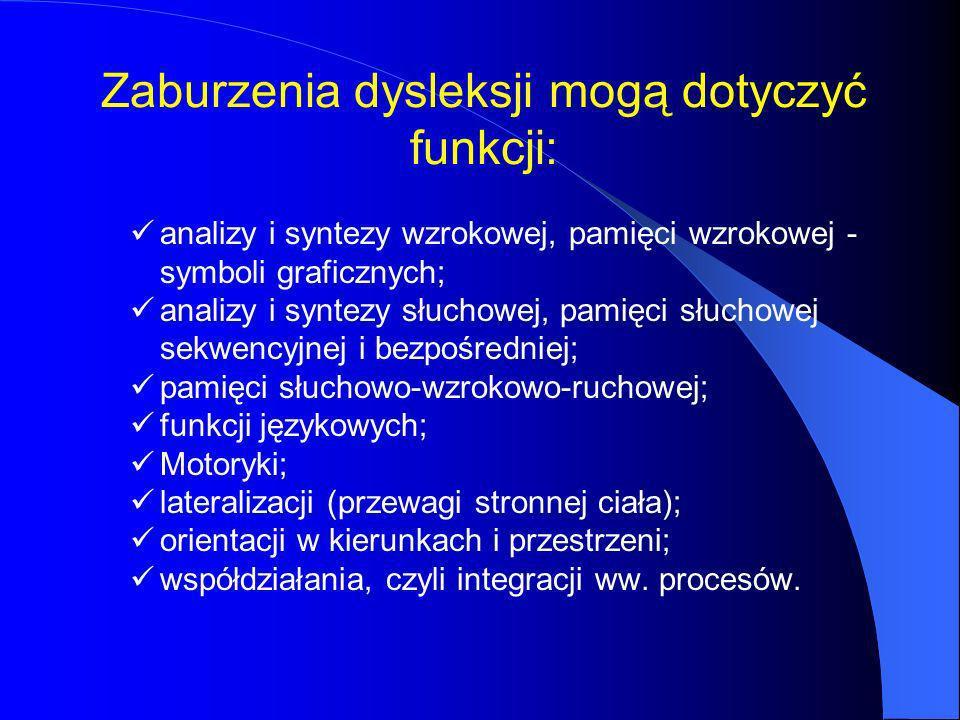 Zaburzenia dysleksji mogą dotyczyć funkcji: