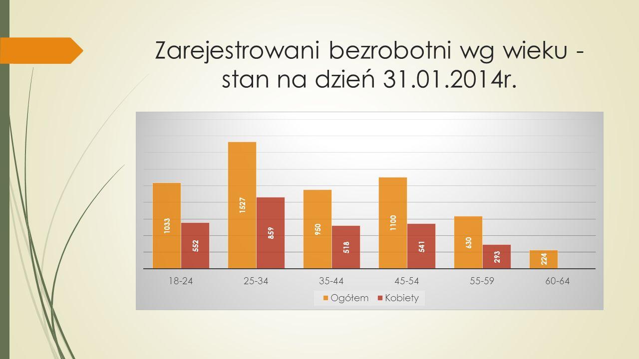Zarejestrowani bezrobotni wg wieku - stan na dzień 31.01.2014r.
