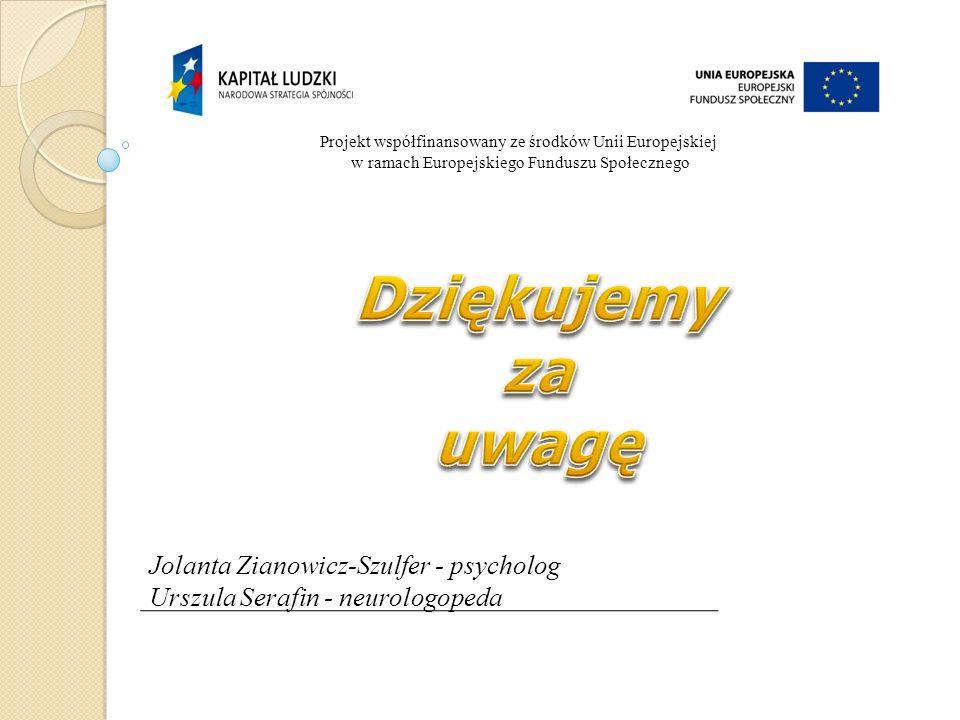 Dziękujemy za uwagę Jolanta Zianowicz-Szulfer - psycholog