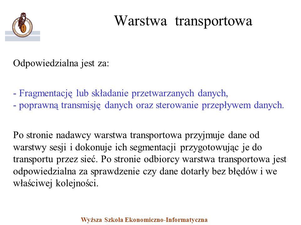 Warstwa transportowa Odpowiedzialna jest za:
