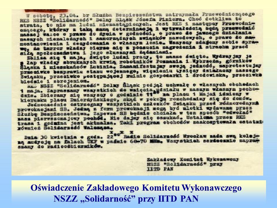 Oświadczenie Zakładowego Komitetu Wykonawczego