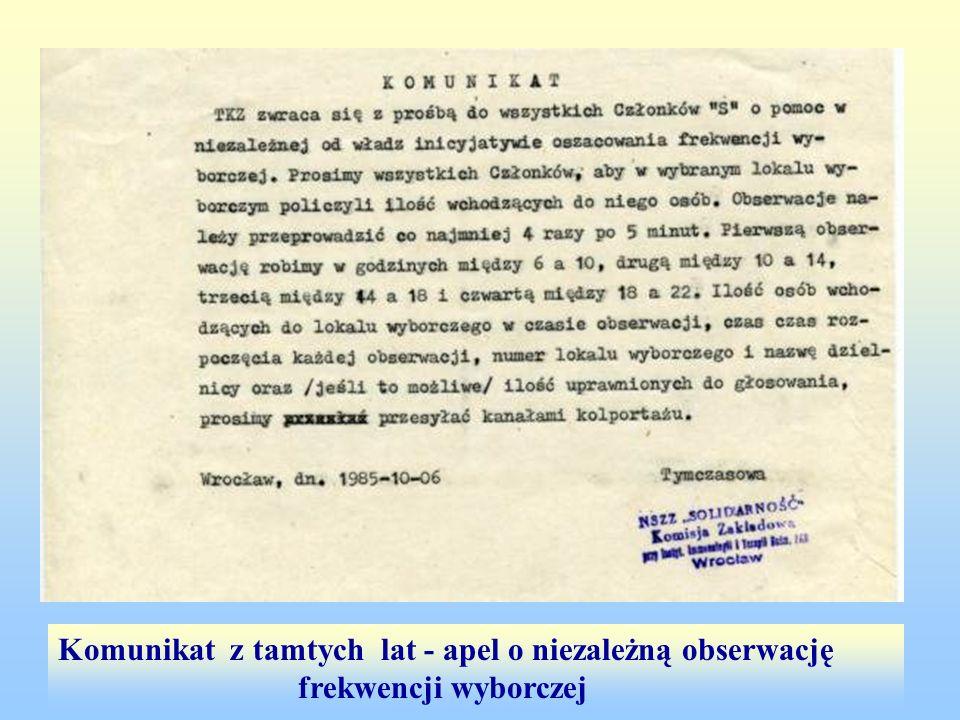 Komunikat z tamtych lat - apel o niezależną obserwację