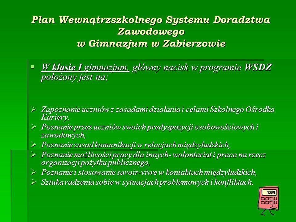 W klasie I gimnazjum, główny nacisk w programie WSDZ położony jest na;