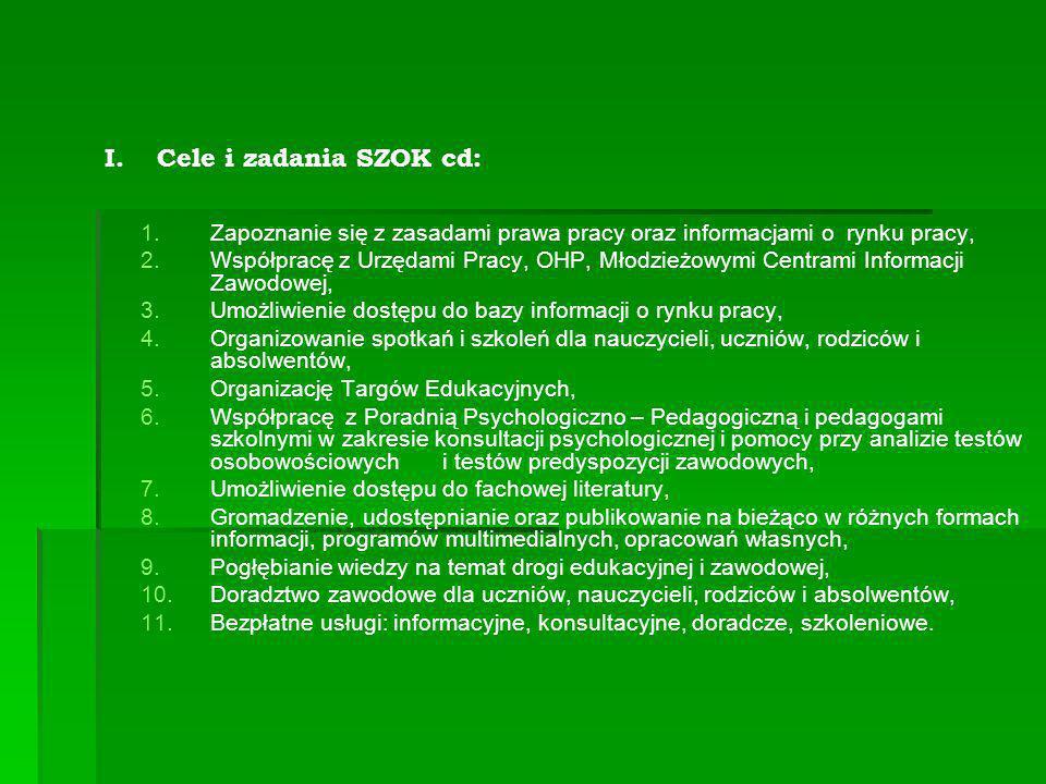 Cele i zadania SZOK cd: Zapoznanie się z zasadami prawa pracy oraz informacjami o rynku pracy,