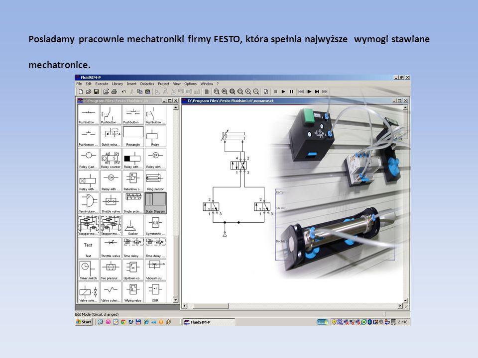 Posiadamy pracownie mechatroniki firmy FESTO, która spełnia najwyższe wymogi stawiane