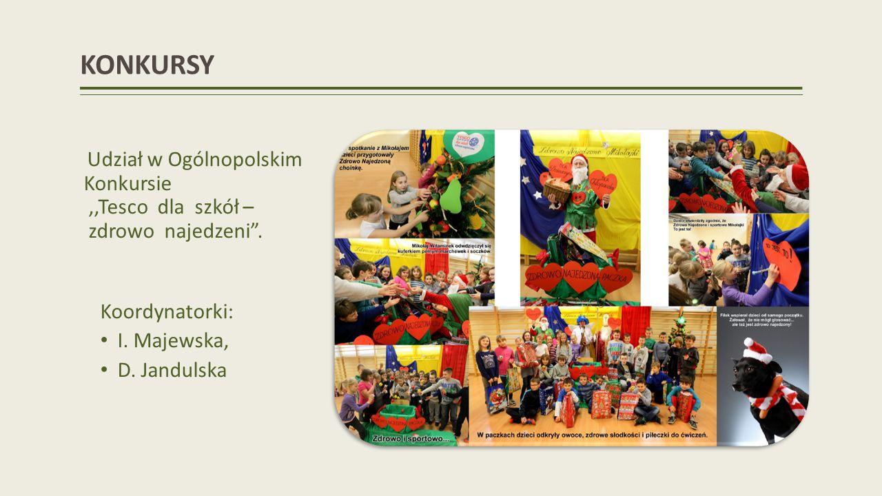 KONKURSY Udział w Ogólnopolskim Konkursie ,,Tesco dla szkół – zdrowo najedzeni . Koordynatorki: