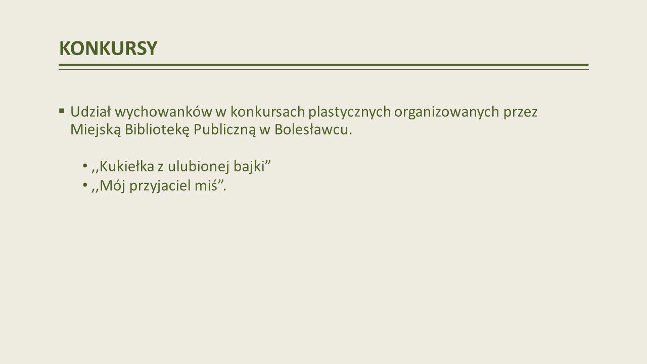KONKURSY Udział wychowanków w konkursach plastycznych organizowanych przez Miejską Bibliotekę Publiczną w Bolesławcu.
