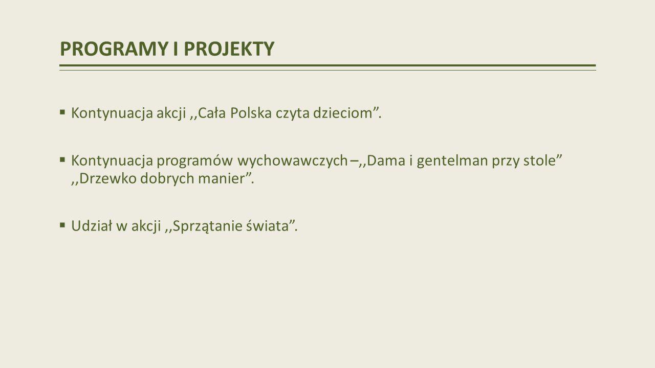 PROGRAMY I PROJEKTY Kontynuacja akcji ,,Cała Polska czyta dzieciom .
