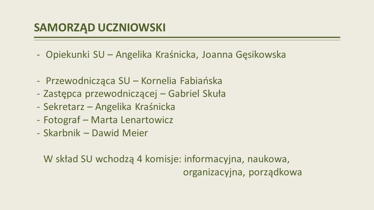 SAMORZĄD UCZNIOWSKI Opiekunki SU – Angelika Kraśnicka, Joanna Gęsikowska. Przewodnicząca SU – Kornelia Fabiańska.