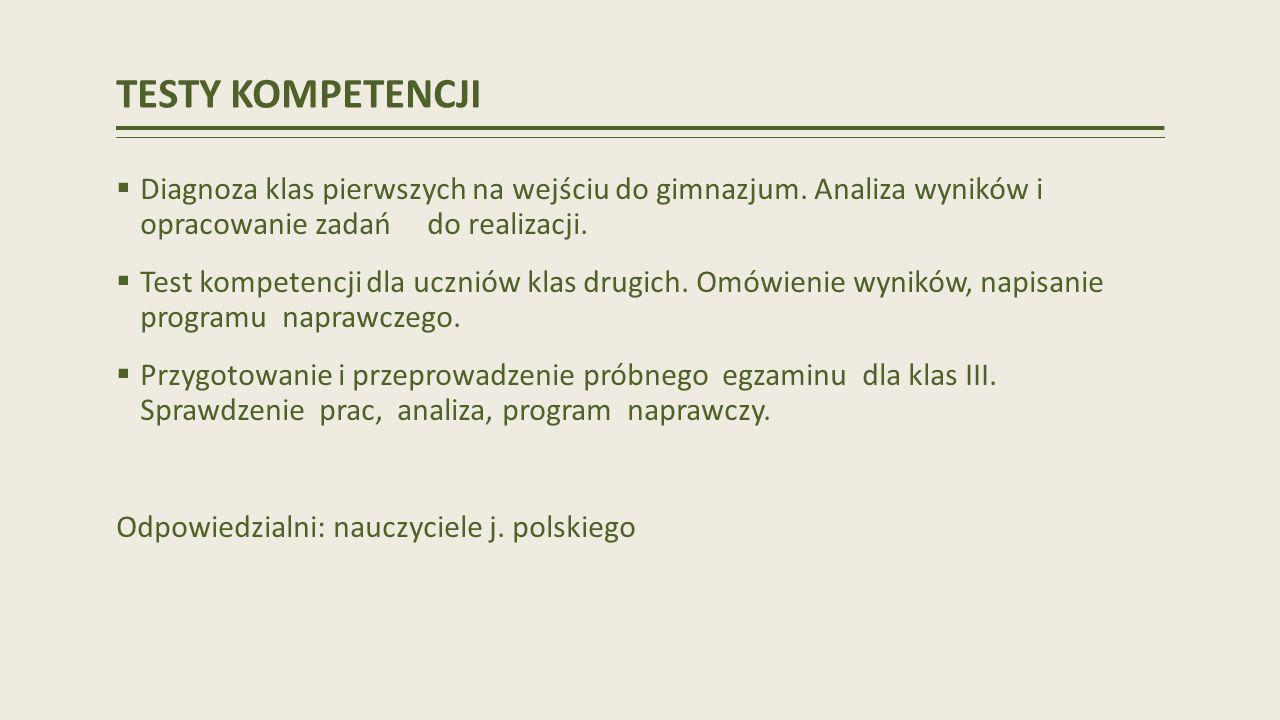 TESTY KOMPETENCJI Diagnoza klas pierwszych na wejściu do gimnazjum. Analiza wyników i opracowanie zadań do realizacji.