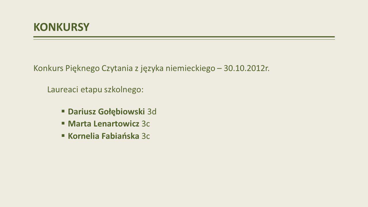 KONKURSY Konkurs Pięknego Czytania z języka niemieckiego – 30.10.2012r. Laureaci etapu szkolnego: Dariusz Gołębiowski 3d.
