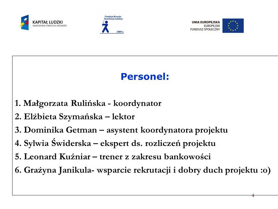 Personel: 1. Małgorzata Rulińska - koordynator. 2. Elżbieta Szymańska – lektor. 3. Dominika Getman – asystent koordynatora projektu.
