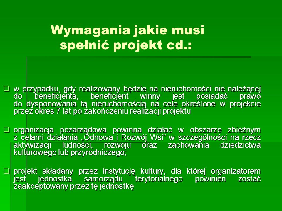 Wymagania jakie musi spełnić projekt cd.:
