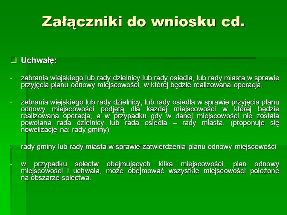 Załączniki do wniosku cd.