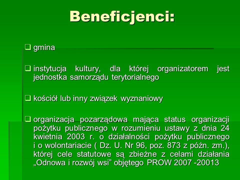Beneficjenci:gmina. instytucja kultury, dla której organizatorem jest jednostka samorządu terytorialnego.