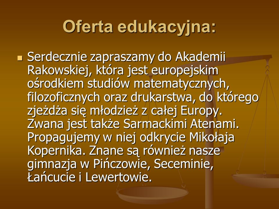 Oferta edukacyjna: