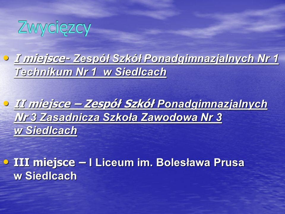 ZwycięzcyI miejsce- Zespół Szkół Ponadgimnazjalnych Nr 1 Technikum Nr 1 w Siedlcach.