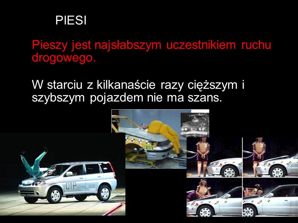 PIESI Pieszy jest najsłabszym uczestnikiem ruchu drogowego.