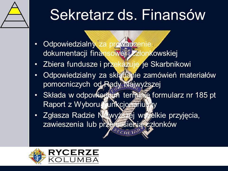 Sekretarz ds. Finansów Odpowiedzialny za prowadzenie dokumentacji finansowej i członkowskiej. Zbiera fundusze i przekazuje je Skarbnikowi.