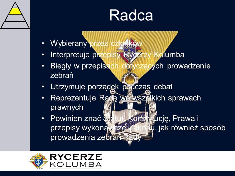Radca Wybierany przez członków Interpretuje przepisy Rycerzy Kolumba