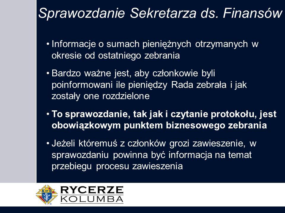 Sprawozdanie Sekretarza ds. Finansów